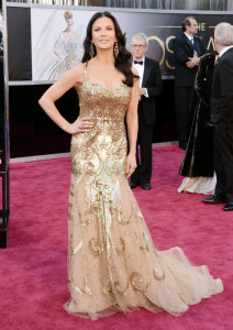 Catherine Zeta-Jones Moder Finger Waves Hairstyle Oscars Red Carpet