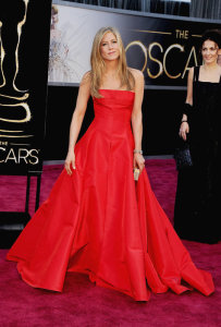 Jennifer Aniston Straight Hairstyle Oscars Red Carpet