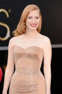 Jessica Chastain Modern Finger Waves Hairstyle Oscars Red Carpet
