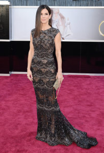 Sandra Bullock Straight Hairstyle Oscars Rede Carpet