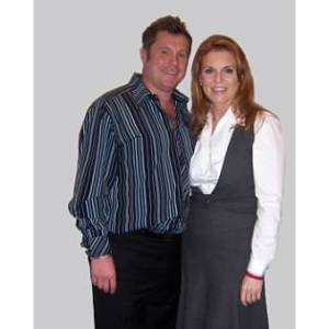 A picture of David Barron with his hair salon client Sarah Ferguson, Duchess of York