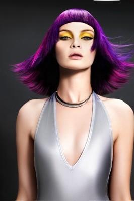 Purple Hair Color Precision Haircut