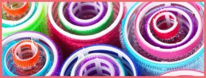 Closeup view of colorful hair rollers