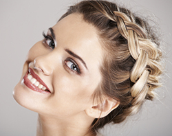 Woman in braided hairstyle
