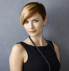 Woman with short bold haircut