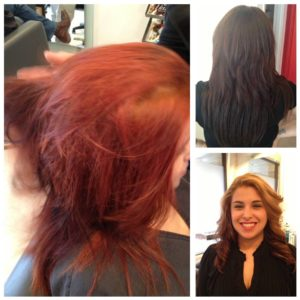 Hair Color Correction Before Middle and After