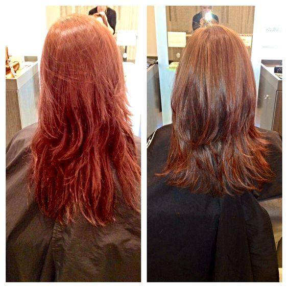 Red Hair Color Before and After