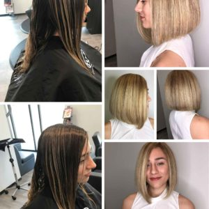 Before and After Hairstyle - All over color, highlights and precision haircut