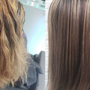 Color Correction of Brassy Highlights Before and After