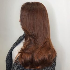 Red hair color 7C with copper intensifier