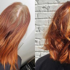 Before and After Red Haircolor Haircut and Style