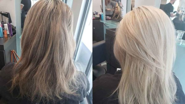 Corrective Color Lowlights to blond Before and After