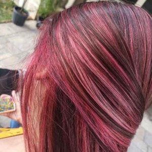 Pretty in Pink Hair Color and Highlights