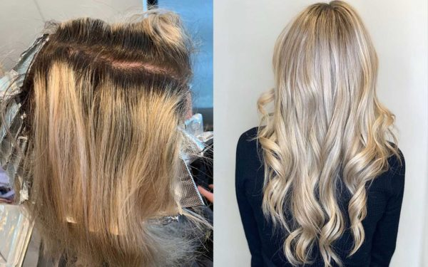 Before and After Blonde Balayage Highlights