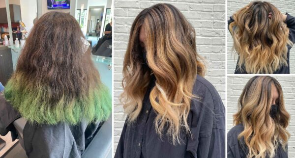 Color Correction Before and After Green Hair, to new haircolor and highlights