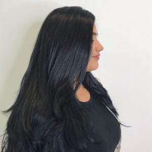 Blue Black Hair Color and Cut