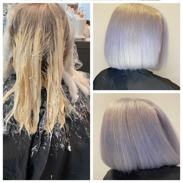 Corrective Blonde Haircolor Before and After by David