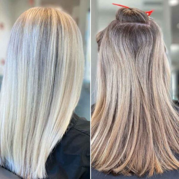 Before and After Icy Blonde Haircolor and Highlights