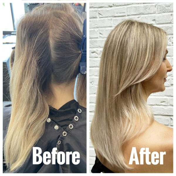 Blonde haircolor and highlights before and after